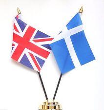 United Kingdom & Scotland Shetland Sealtainn Double Friendship Table Flag Set