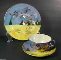 Vintage TT Porcelain Landscape Lusterware Cup Saucer Plate Gold Accents Japan