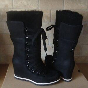 UGG Mason Waterproof Suede Black Lace Bow Wedge Rain Tall Boots Size 7.5 Women