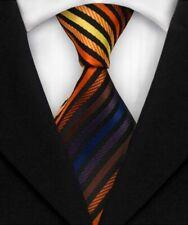Classic Striped Silk Ties JACQUARD WOVEN Men's Suits Tie Necktie Orange A385