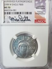 2008-W $50 1/2 OZ BURNISHED PLATINUM EAGLE  MS70  LOW MINTAGE  STATUE OF LIBERTY
