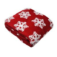 Soft Fluffy Fleece Christmas Stars Red White 3D Effect Throw Blanket Bedspread