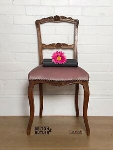Single Carved Chair professionally reupholstered in pale pink velvet