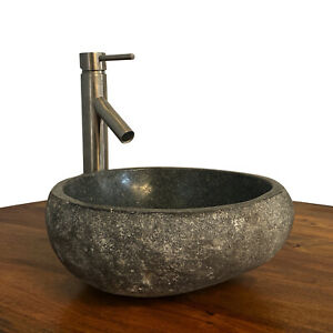 Granite Vessel Sink Stone Boulder Bathroom Counter Top Vanity Fixture SNVS9