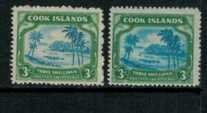 """Cook Islands KGVI 1944 3/- """"Center Printed Double"""" (right stamp) see description"""