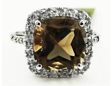 10K WHITE GOLD GENUINE 3.84 Cts SMOKY TOPAZ & DIAMONDS RING *  NWT