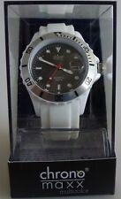 Neu chrono maxx multicolor Uhr Unisex weiß trendige Silikonuhr ZB schwarz