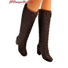 Barbie Fashion Accessory Brown Knee High Faux Lace Up Rubber Boots New