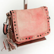 Designer Damen Abend Schulter Tasche Crossbody Bag echt Leder Denim Rose 0106R