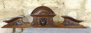 "40""  Antique French Hand Carved Wood Solid Walnut Pediment - Lion Head"