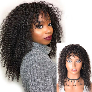 Afro KinkyCurly Wig Brazilian Curly Human Hair Wigs No-Lace Wigs with Bangs 20""