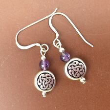 Amethyst Celtic pewter silver earrings. Irish jewellery gift craft sterling