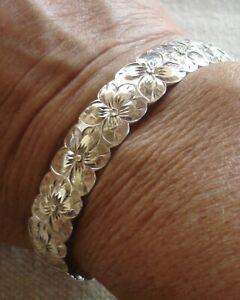 Hawaiian Sterling Silver Etched Plumeria Flower Cuff Bracelet 20.9 grams Hawaii