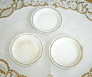 "Vintage Bone China White with Gold Rim  3 1/8"" Butter Pats Plates ~ Set of 3 ~"