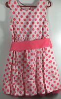 Sophia Grace & Rosie Girls Pink and White Polka Dot Dress Size S 6/6X