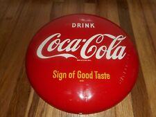"Vintage ORIGINAL  COCA COLA COKE SODA POP AM99 Advertising 12"" ROUND BUTTON SIGN"