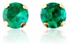 Solid 14K Yellow Gold 0.50ct Round Emerald Stud Earrings Studs Ret:$77 NWT