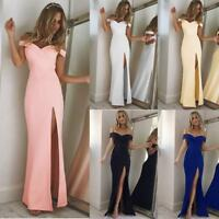 US Women Off Shoulder Evening Formal Party Ball Gown Prom Bridesmaid Dress Split