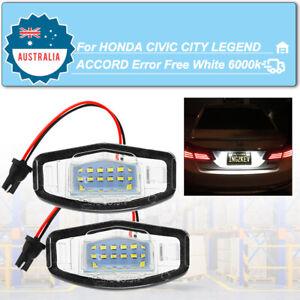 2Pcs LED Number License Plate Lights Error Free 6000K Honda Accord Civic MR-V
