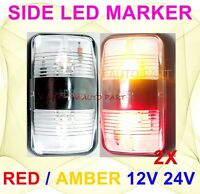 2X 12V 24V Amber Red Clearance Lights Side Marker LED Trailer Truck Car ADR SAE