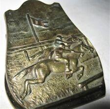 ANTIQUE JUDD EQUESTRIAN HORSE JOCKEY RACING CAST IRON DESK ART CLIP PAPERWEIGHT