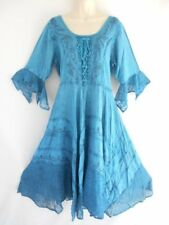 Batik Embroidered Lace Smock 3/4 Sleeve Boho Peasant Gypsy Casual Dress Teal