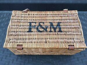 Fortnum & Mason F&M Picnic Hamper Wicker Basket With Handle & Straps