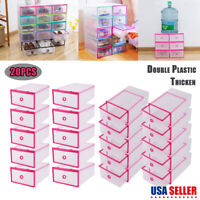 20× Shoes Storage Box Clear Drawer Transparent Home Organizers Stackable Boxes