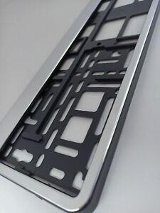Silver CHROME style holder for EURO license plate frames FOR ALL CARS
