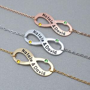 Custom Infinity Bracelet Birthstones Engraved Names Personalized Gift for Her