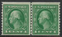 SCOTT 443 1914 1 CENT WASHINGTON ISSUE LINE PAIR MNH OG F-VF PF CERT CAT $210!