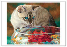 ART Lucie Bilodeau CATs Kitty looks at flowers on water Modern Postcard #35