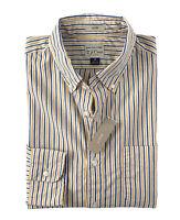 J.Crew - Mens XL - Slim Fit - NWT - Citrus Orange/Blue Striped Secret Wash Shirt
