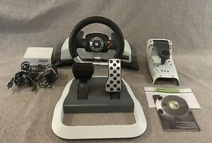 Microsoft XBox 360 Force Feedback Racing Wheel, Foot Pedals, Cords & Access.