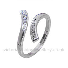 925 Sterling Silver Plated SHABBY CHIC RING Thumb/ Wrap Ring. ADJUSTABLE. CZ