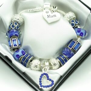 Personalised Jewellery Gifts For Mum Blue Bracelet MUM MUMMY Engraved Charms