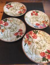 Waverly Paradise Island Dinner Plates Garden Room set of 4; Tropical Flowers