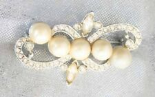 Marvella Elegant Faux Pearl & Rhinestone Sillver-tone Brooch 1960s vintage