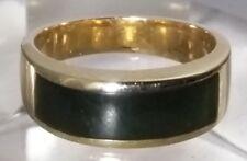Custom Vintage 14k Yellow Gold Nephrite Jade 6.1mm Band Ring Sz 6 Unisex