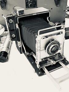 CLEAN GRAFLEX CROWN GRAPHIC 4X5 LARGE FORMAT CAMERA OPTAR 135mm, f4.7 LENS  KIT