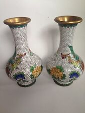 """VINTAGE MATCHING PAIR OF CHINESE CLOISONNE ENAMEL VASE FIGHTING ROOSTER 9"""""""