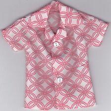 Homemade Doll Clothes-Pretty Salmon and White Print Shirt that fits Ken Doll B3
