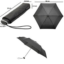 Flat Compact Folding Mini Umbrella - Wind Resistant - Men or Ladies - Black