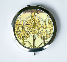 Art Nouveau Lilies Flowers Compact Mirror Pocket Mirror mucha