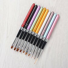 10Pcs/set Nail Art Brush Crystal UV Gel Painting Drawing Liner Pen Kits Tools
