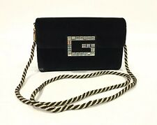 AUTHENTIC GUCCI BROADWAY CRYSTAL G CLUTCH / CROSSBODY BAG -BLACK VELVET -NEW