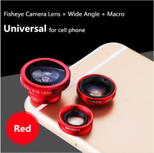 3in1 Fisheye Wide Angle Macro Camera Clip-on Lens For iPhone Smartphone Tablet U