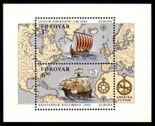 Faroe Islands 1992 Europa Explorers Minisheet Columbus & Leif Eriksson MNH / UNM