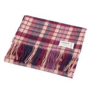 Edinburgh 100% Lambswool Luxury Scottish Tartan Scarf - Navy/Purple/Beige