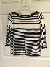 New w/out Tags George Women's medium 8 - 10 boat Neck sweater navy white green -